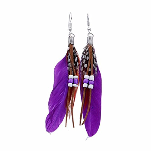 Long Purple Feather Earrings - Owill Women Girls Bohemia Feather Shape Beads Long Dream Catcher Earrings For Your Charming Life (Purple)