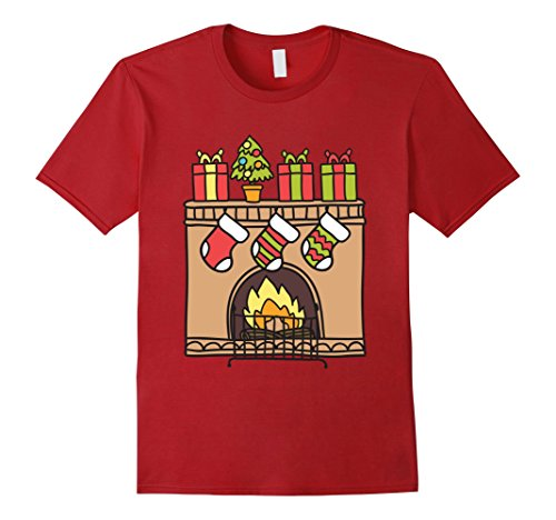 Jungle Man Costume Ideas (Mens Brick Fireplace Christmas Xmas Cute Shirts Awesome Gift Large Cranberry)