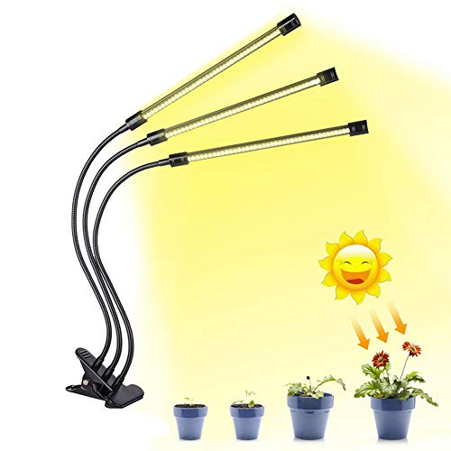 30W LED Grow Light for Indoor Plants, Sunlike Full Spectrum Grow Lamp, Triple Head 360 Degree Gooseneck Office Plant Growing Lamps with 120 Bulbs, for Indoor Plants Seedling,Growing,and Fruiting