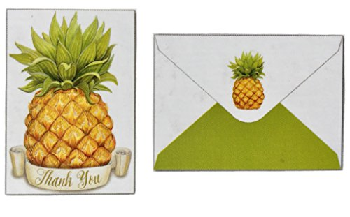 Pictura Pineapple Thank You Blank Boxed Note Cards Embossed with Foil Accents, 14-ct