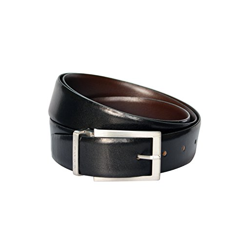 CROSS Men's Genuine Leather Belt Santiago Cut-to-Fit Style. 35 mm Pronged Buckle (Reversible) - Black/Brown AC318493N (Large) - Santiago Leather