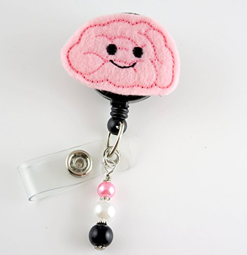 Cute Brain- Nurse Badge Reel - Retractable ID Badge Holder - Nurse Badge - Badge Clip - Badge Reels - Pediatric - RN - Name Badge Holder