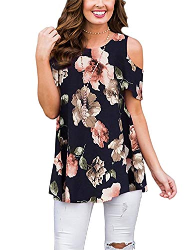 Viracy Sexy Blouses for Women, Ladies Tops Plus Size Swing Floral Print Casual Cold Shoulder Tunic Top Short Sleeve Loose Summer Knitted T-Shirts Curvy Hem Hawaiian Shirt Navy Paisley 2XL