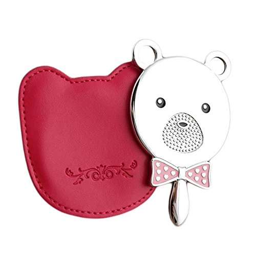 Brendacosmetic Lovely Pink Bear Head Cosmetic Mirror Metal HD Mirror Handle Mirror for Makeup ,Portable Travel Mirror Beauty Makeup Mirror with PU Leather - Uk Sale Chanel