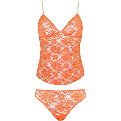 Curve Muse Women's Lingerie Sexy Lace Camisole Tank Top with Thong Pajama Set Pack of 1-Orange-XL