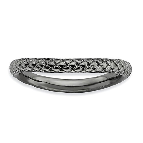 (Sterling Silver Stackable Expressions Polished Black-plate Wave)