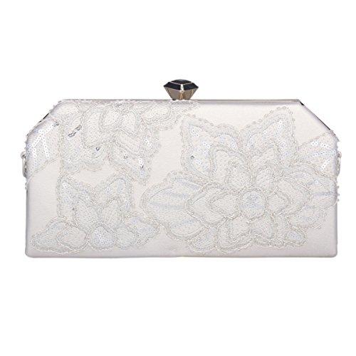voor Sequin A Party borduurwerk onregelmatig Adoptfade Clutch Silver dames met Bag 0CxCET