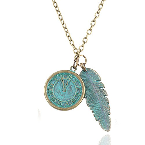 ISAACSONG.DESIGN Vintage Necklace Punk Engraved Charms Gold Tone Long Chain Unisex Jewelry (Necklace Clock)