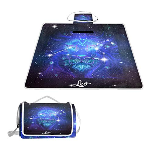 Printedin3D Constellation Zodiac Sign Leo Beach Blanket Picnic Mat 57x59in for Outdoor Hiking Grass Travel