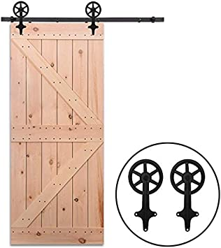 08 Shape Hanger Smoothly and Quietly CCJH 6FT Sliding Barn Door Hardware Kit for Single Wooden Door Max Suitable for 36 Wide Door Panel Heavy Duty Sturdy Sliding Hardware Closet Kit
