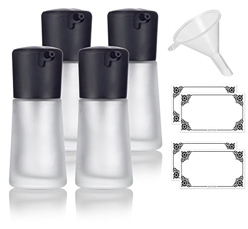 1 oz / 30 ml Frosted Glass Foundation Bottle with Lock Pump Cap - 4 PACK + Funnel and Labels for foundations, creams, lotions, serums, and more