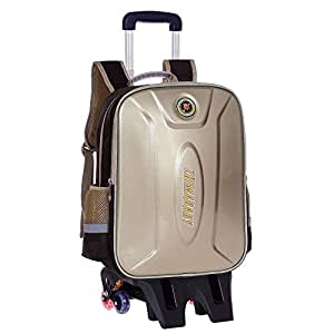 KTYXDE Travel Bag Backpack Hard Shell Dual-use Student Large Capacity Trolley Bag Waterproof Reflective Shoulder Bag Trolley Backpack (Color : Gold, Size : 44x16x33cm)