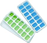 Ice Cube Trays, Silicone Easy-Release and Flexible 14-Ice Trays with Spill-Resistant Removable Lid, BPA Free, Durable and Dishwasher Safe, 2 Pack