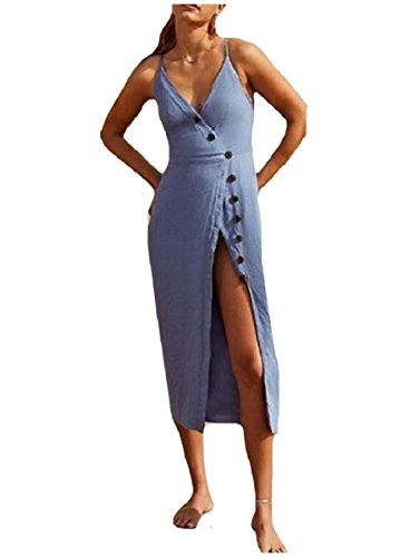 Coolred Azzurro Ginocchio Usura Sotto Bottone Spiaggia Il Anteriore Cami donne Dividere Vestito Di CCqxRwFfH