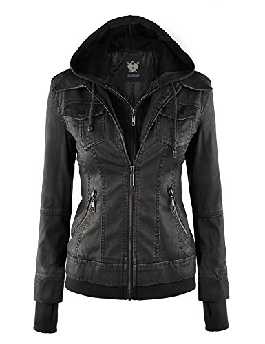 Lock and Love LL WJC664 Womens Faux Leather Jacket with Hoodie L Black Ash Ladies Full Zip