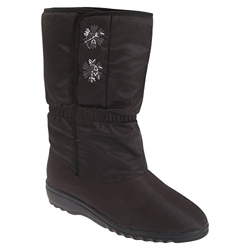 Womens Boots Calf Fastening Touch Side Blizzard Snowflake Boots Black Ladies HZwPn8vq