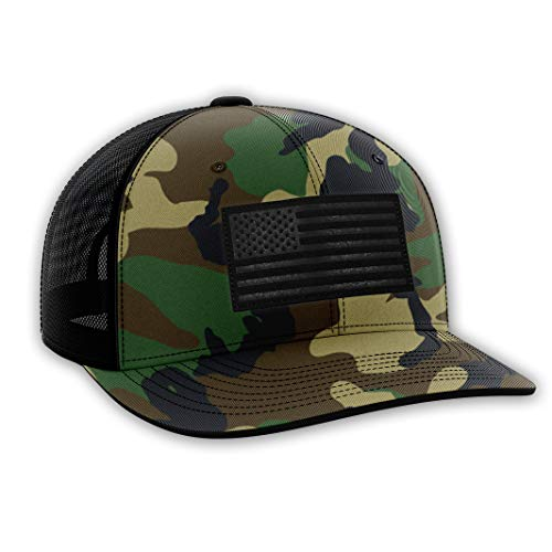 The Fighting Forces Military Camo USA Flag Snapback Hat (Camo Marines Hat)