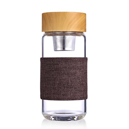 Oneisall Awon GYBL083-13 Ounce Water Bottle Tea Infuser Portable Glass Cup Leak Proof Car Mounted Scald Proof (Brown)