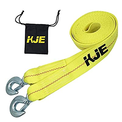"Tow Strap Heavy Duty,KJE Recovery Strap 2"" x 20' Towing Strap with Two Towing Hooks -10,000 LB Break Strength -Polyester: Home Improvement"