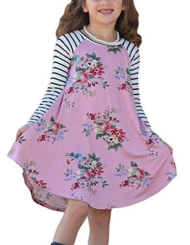 Blibea Little Girls Fall Dresses Pink Spring Fling Floral Striped Sleeve A-line Swing T-Shirt Short Dress Size 8 -