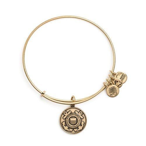 (Alex and Ani Women's U.S. Coast Guard Charm Bangle Rafaelian Gold Finish)