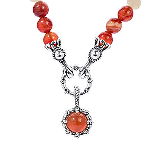 Carolyn Pollack Sterling Silver Orange Agate, Red Carnelian, Peach Aventurine, and Yellow Calcite Gemstone Beaded Necklace 18 Inch (Gemstone Sterling Enhancer)