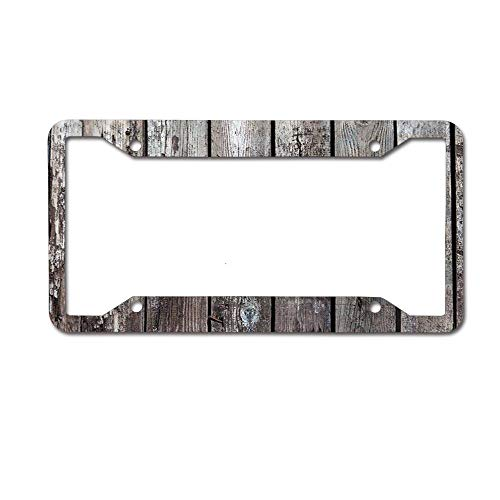Mrsangelalouise Rustic Wooden Hardwood Floor Plank License Plate Frame Aluminum Car License Plate Cover Tag 4 Holes and Screws (Hardwood Rustic Frame)