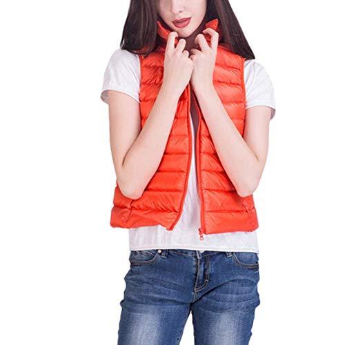 Saoye Fashion Mujer Chaleco Invierno Sin Mangas Pluma Camisolas Color Sólido Cuello Alto Bolsillos Delanteros con Cremallera Abrigos Caliente Ropa Hipster Prendas Exteriores Naranja
