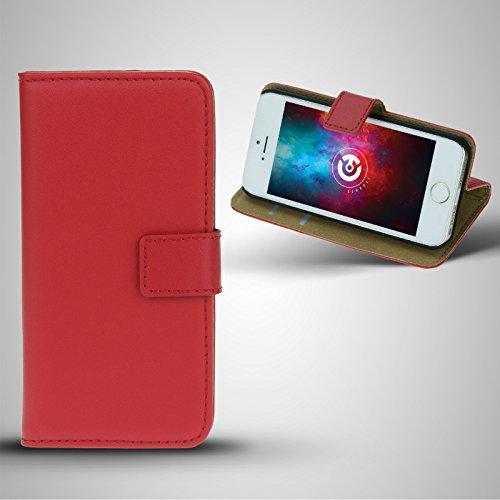 cTRON21 Apple iPhone SE / 5S / 5 PU Leder Tasche Bookstyle Hülle Schutzhülle Flip Case Rot