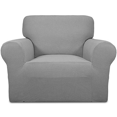 Easy-Going Stretch Chair Sofa Slipcover 1-Piece Couch Sofa Cover Furniture Protector Soft with Elastic Bottom for Kids,Pet. Spandex Jacquard Fabric Small Checks(Chair,Light Gray) (Sofa Grey And Chair)