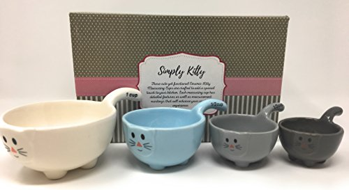 Cat Measuring Cups Set by Simply Kitty. These Ceramic Cat Shaped Measuring Cups are a Perfect Gift for Any Cat Lover!