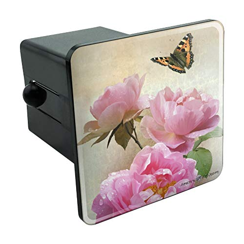 Pink Roses and Butterly Tow Trailer Hitch Cover Plug Insert 2