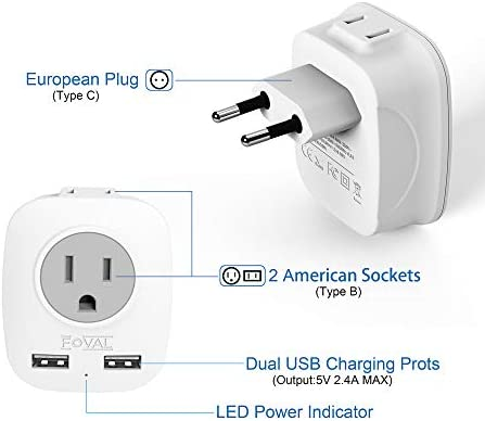 European Plug Adapter and USB Charger (3 pack)