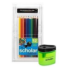 Prismacolor Scholar Art Pencils, Box of 12 and Pencil Sharpener Bundle
