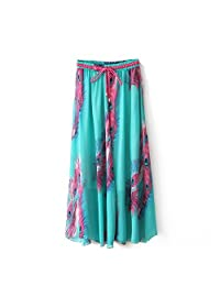 J.cotton Women's Floral Tulle Chiffon Dress Pleated Sexy Casual Stretch Skirt (Green)