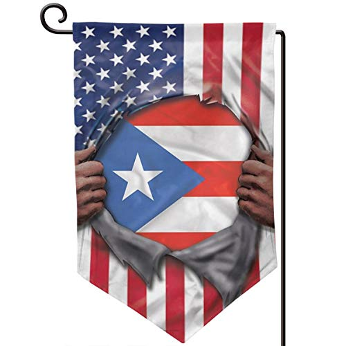 Private Bath Customiz Puerto Rico Flag American Flag Ripped Garden Flags Yard Holiday Seasonal Garden Outdoor Decorative Flag Double Sided 12.5 X 18 in