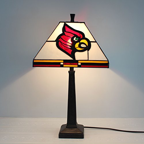 Table Cardinals Lamp Tiffany (12-inch NCAA Louisville Cardinals Stained Glass Square Table Lamp)