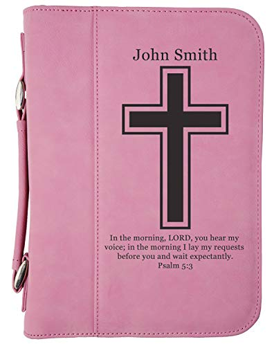 Custom Book/Bible Cover | Personalized Laser Engraved | Pink with Cross | 7 1/2