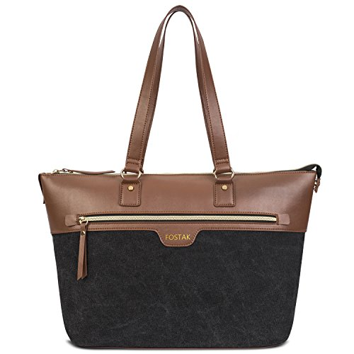 Womens Tote Bag,15.6 inch Laptop Briefcase Tote For Women,Large Capacity Lightweight Leather Handbag Satchel Soulder Bag For Business Work College Travel Outdoor Casual,Black Review