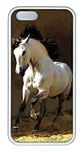 iPhone 5S Case, Unique Protective Design Soft TPU White Edge White Horse Case Cover for iPhone 5/5S by icecream design