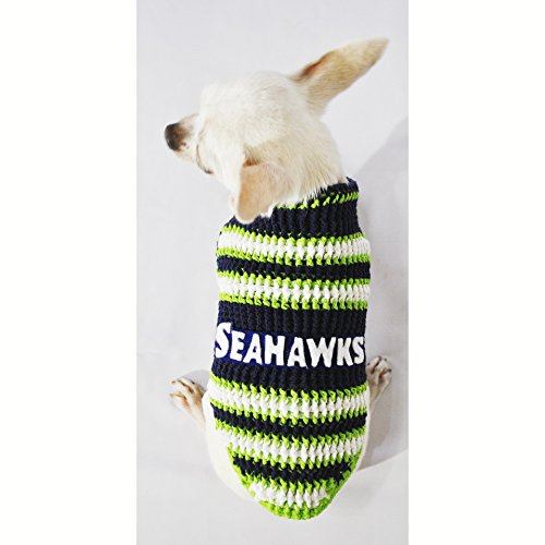 Seattle Seahawks Dog Clothes NFL Dog Jerseys Football Pet Costumes Puppy Sweaters Super Bowl Chihuahua Clothing Handmade Crochet Dk975 Myknitt - Free Shipping (XXS)