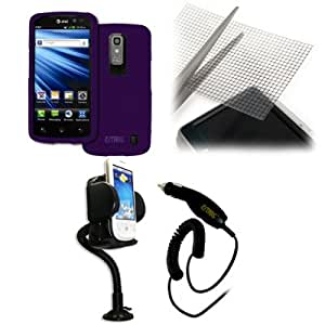 EMPIRE LG Nitro HD Rubberized Hard Case Cover (Purple) + 360 Degree Rotatable Car Windshield Mount with Air Vent Attachment + Universal Screen Protector + Car Charger (CLA) [EMPIRE Packaging]