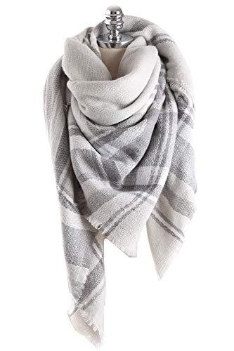 Yanekop Womens Oversized Blanket Scarf Fashion Plaid Shawl Wrap Best Gifts(Light Grey) (Tartan Sheets Flannel)