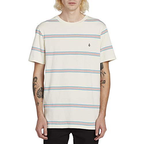 (Volcom Men's Tehas Striped Short Sleeve Tee, White Flash Large)