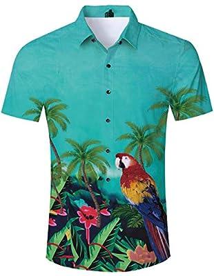 RAISEVERN Men's Printed Casual Button Down Short Sleeve Shirt/Swim Trunks