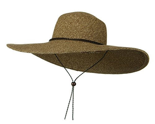 Womens Floppy Wide Brim Packable Sun Hat Two Tone Brown with Chin (Brown Chin Strap)