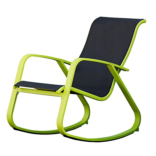 Grand patio Modern Swing Rock Chair Glider with Lemon Green Aluminum Frame, Indoor/Outdoor ()