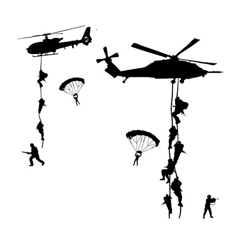 CustomVinylDecor Army Wall Decals, Soldiers Parachuting from Helicopters Personalized for Kids Playroom, Children, Military Families