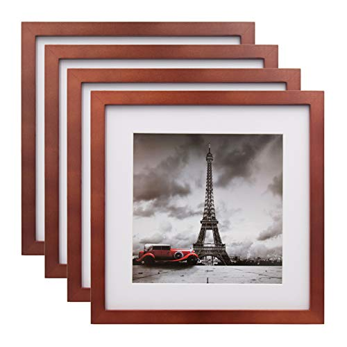 Egofine 11x11 Picture Frames 4 Pack Display Pictures 8x8 with Mat or 11x11 Without Mat Made of Solid Wood for Table Top Display and Wall Mounting Photo Frame, Walnut Color
