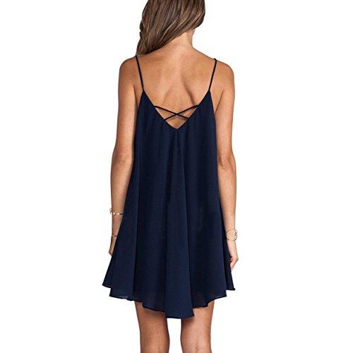 JXLOULAN Summer Loose Women Irregular Croix Halter Mini-robe sombre Blue Beach